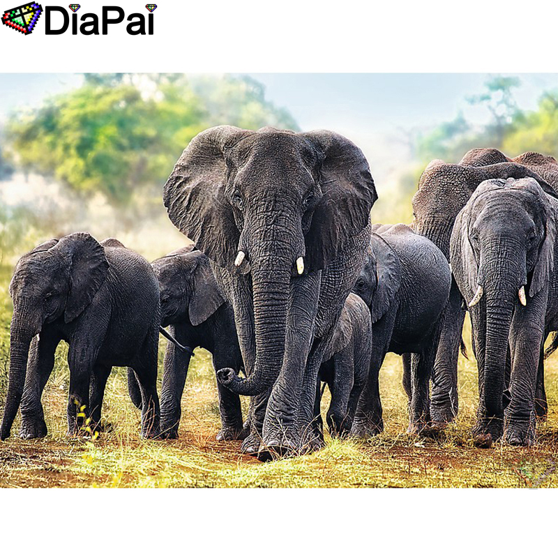 "DIAPAI 5D DIY Diamond Painting 100% Full Square/Round Drill ""Animal elephant"" Diamond Embroidery Cross Stitch 3D Decor A22893(China)"