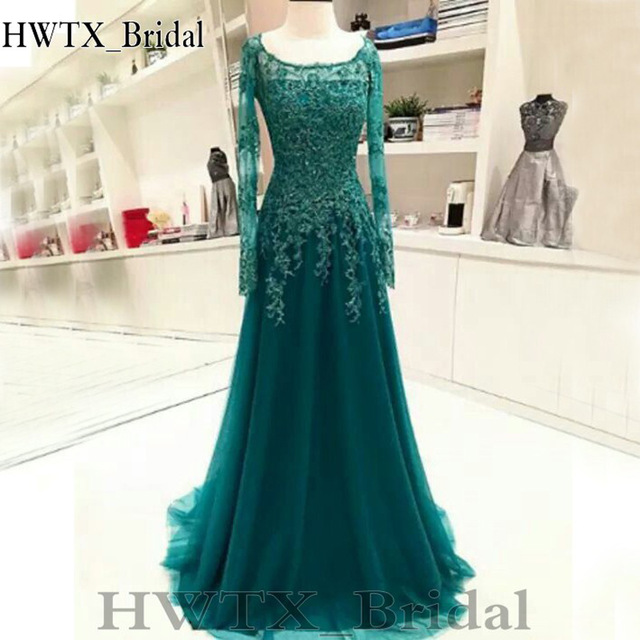 31397c919c Hunter Green Lace Mother Of The Bride Dresses Plus Size 2018 Elegant A Line  Long Sleeves Prom Formal Gown Party Evening Wear