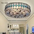 Средиземноморская печатная стеклянная потолочная лампа для гостиной  Европейский цветной стеклянный светодиодный потолочный светильник  ...