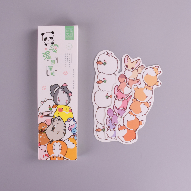 30 Pcs/box Cute Cartoon Animal Park Paper Bookmark Stationery Bookmarks Book Holder Message Card
