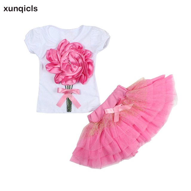 07904c09b7f9 xunqicls 2-5Y Summer Girls Clothing Set Baby Flower T Shirt + Skirt Tutu  Kids Floral Short Sleeve Princess Clothes