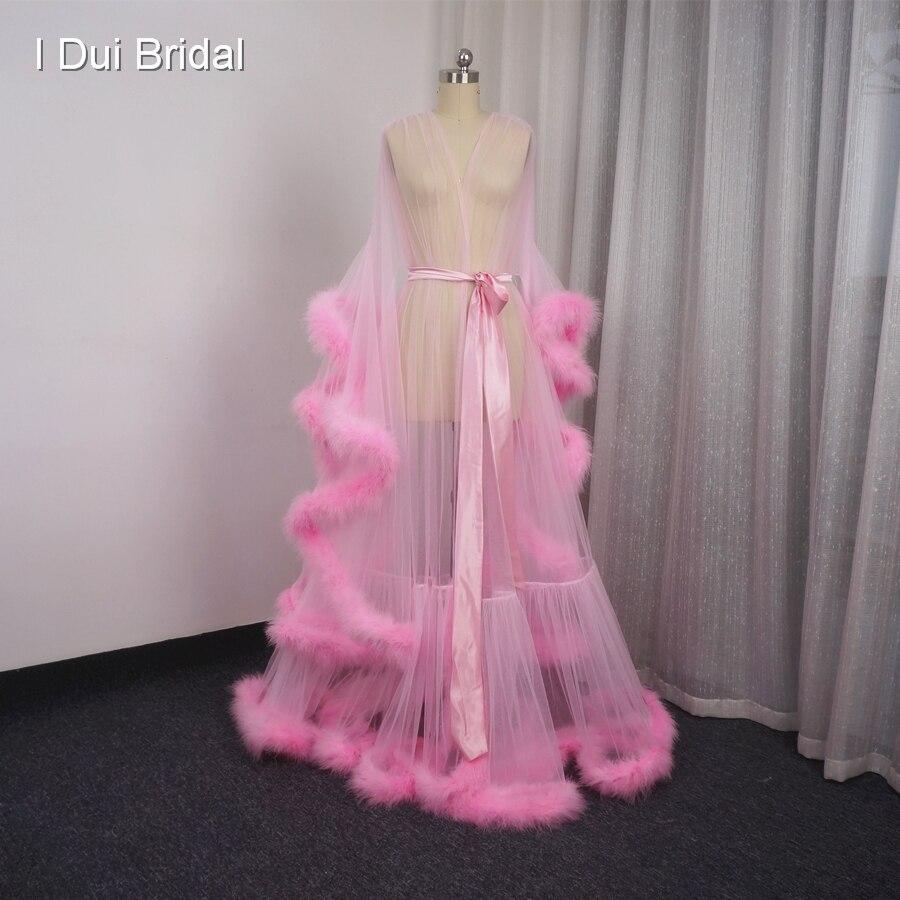 Boudoir nuptial Robe Rose Plume De Mariée Sheer Robe Tulle Illusion Longue D'anniversaire Plume Robe Halloween Costume