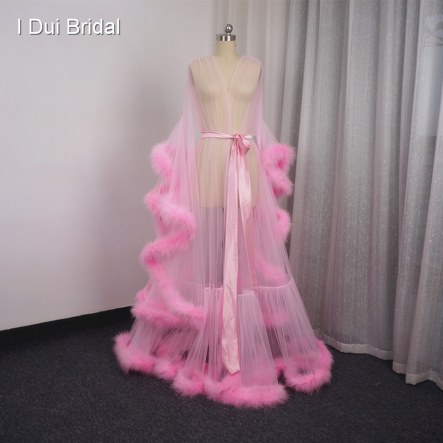 ✅Pink Feather Bridal Sheer Robe Tulle Illusion Long Wedding Scarf ...