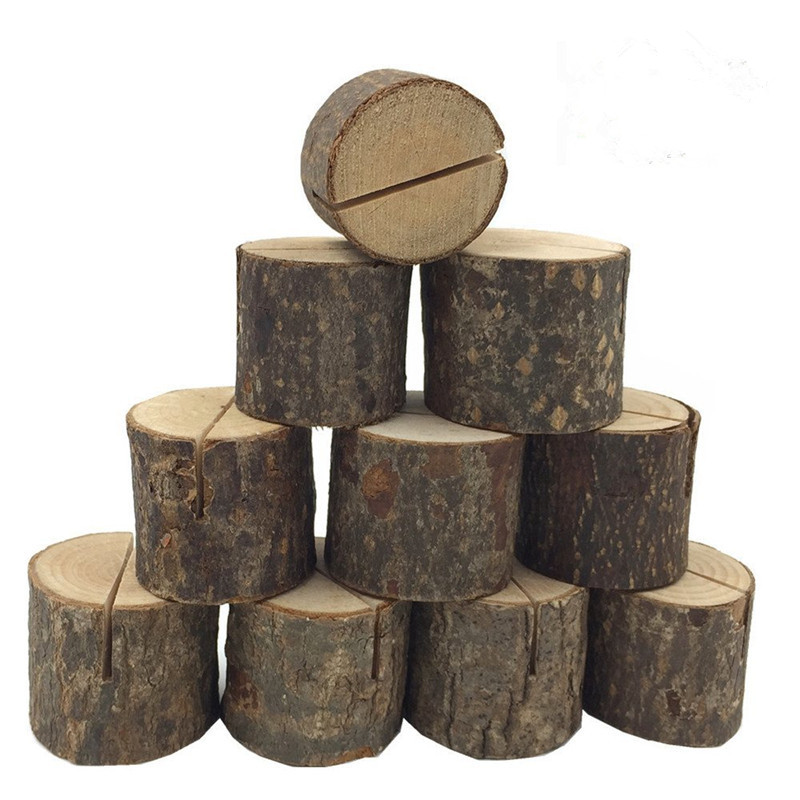 10 PCs Wooden Stump Shape Wooden Party Reception Place Card Wedding Name Place Card Picture Photo Clip Card