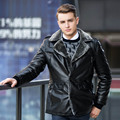 M-3XL Plus Size Men Faux Leather Coat Casual Turn-down Collar Warm Thick Winter Style Slim Faux Leather Jackets CT05
