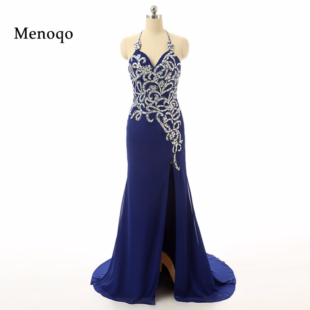 2019 Glamorous Sexy A Line Halter Beaded Appliqued High Side Slit Backless Floor Length Royal blue   Evening     Dresses   Prom Gown