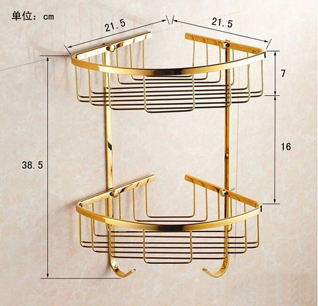 Online Shop Wall Mounted Gold Brass Bathroom Corner Shelf Bathroom