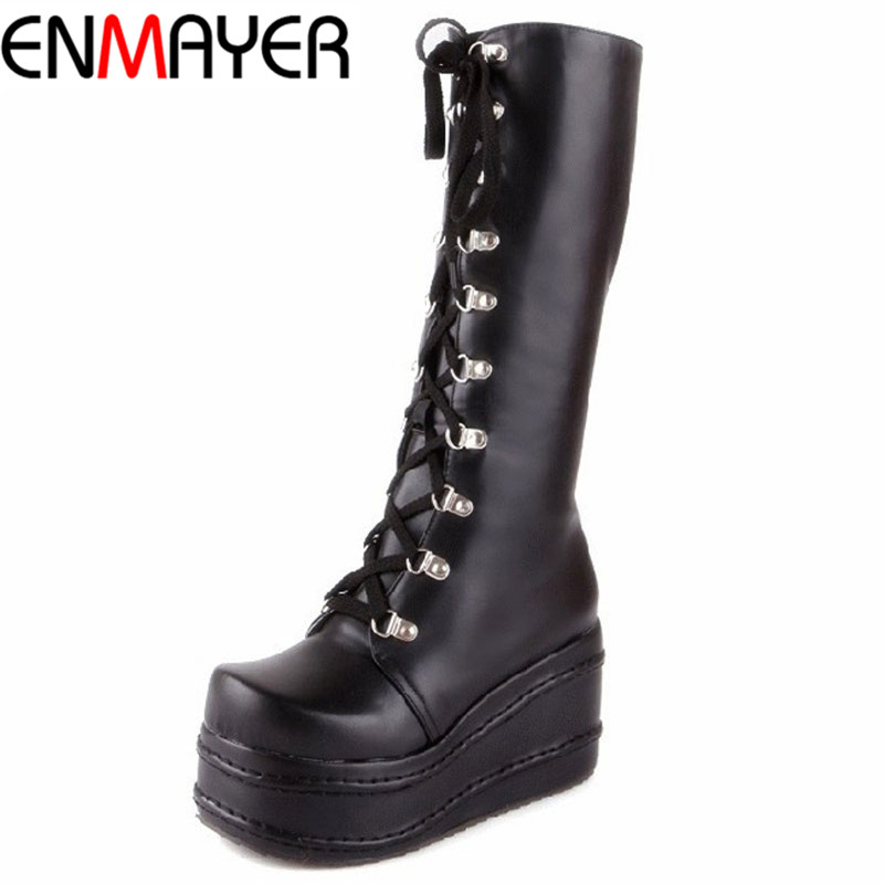 ФОТО ENMAYER ShoesNew Motorcycle Boots Gothic Punk Shoes Cosplay Boots Knee High Heel Platform Sexy Zip Winter Wedges Knee High Boots