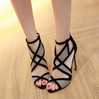Korean Female Sexy Sandals Summer Fish Mouth Color Allmatch Cross Straps New Hollow Toe Heel