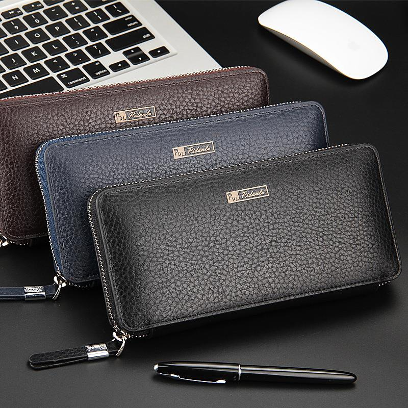 Fashion Genuine Leather Long Design Wallet Men Multi-card Bit Wallets High-quality Clutch Carteira Masculina Zipper Coin Purse double zipper men clutch bags high quality pu leather wallet man new brand wallets male long wallets purses carteira masculina