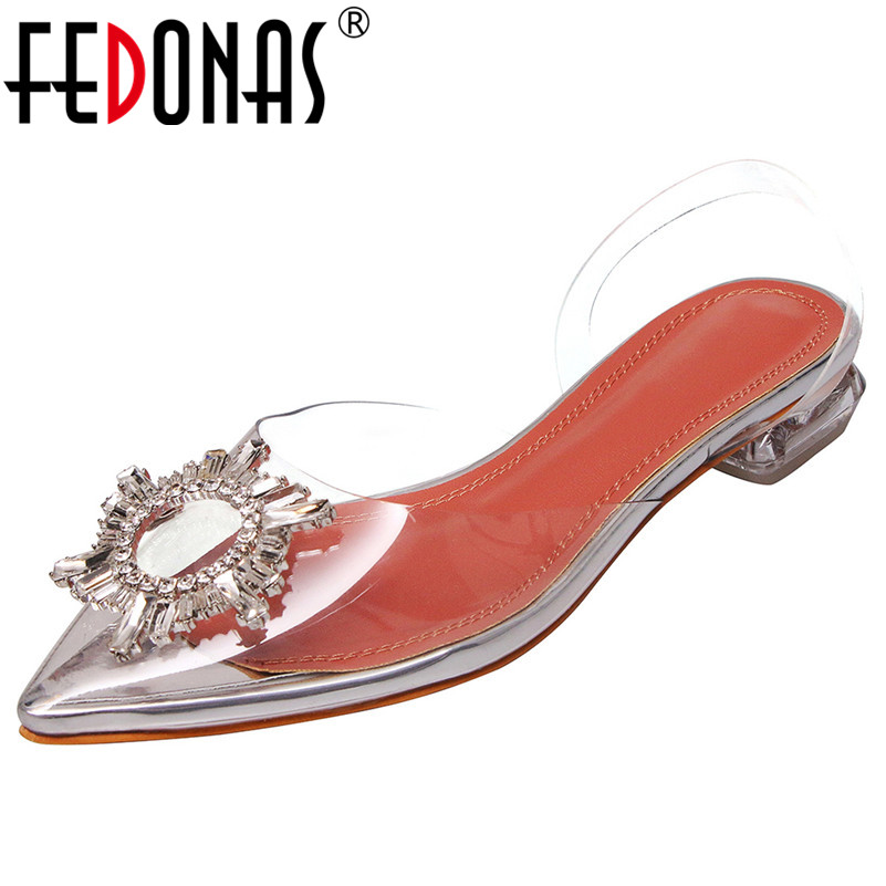 FEDONAS Fashion Pu Leather Crystal Decoration Women Sandals 2019 Summer New Pointed Toe Buckle Low Heels Party Prom Shoes WomanFEDONAS Fashion Pu Leather Crystal Decoration Women Sandals 2019 Summer New Pointed Toe Buckle Low Heels Party Prom Shoes Woman