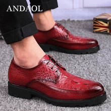 ANDAOL Mens Leather Casual Shoes NEW Genuine Cow Non-Slip Thick Sole Business Derby Luxury Lace-up wedding