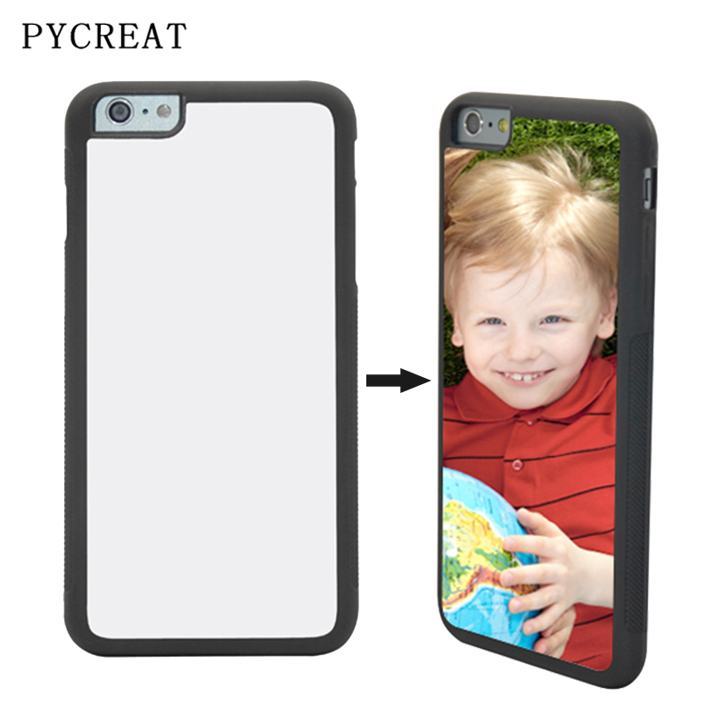 JC 2D Sublimation Case For iPhone 6 6s Plus Coque Rubber TPU Personal Back Cover With Blank Metal Aluminum Insert Heat Transfer