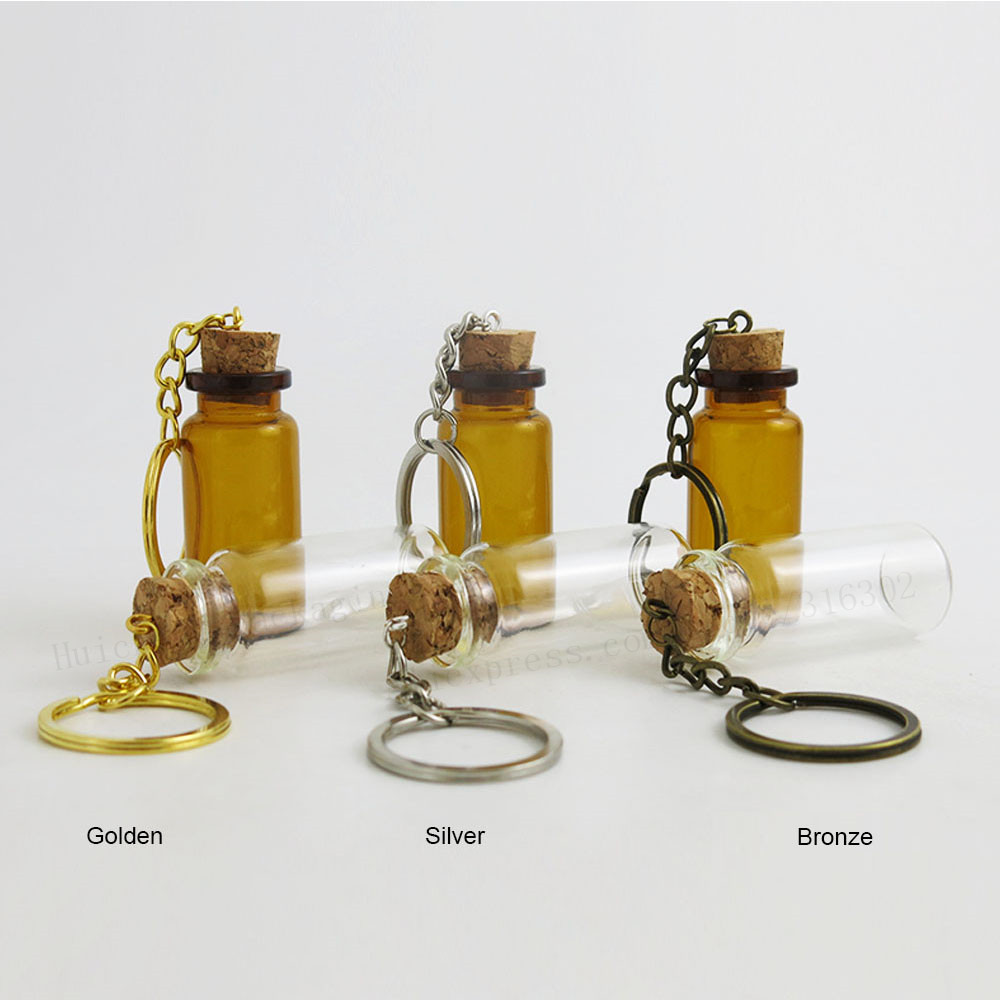 500 X 10ML 8M 7ML 6ML 5ML Empty Mini Cute Glass Bottles Key Chain Pendants Small Wishing Cork Vial Arts Jars For Bracelets Gifts wholesale 200pcs 4ml 22 25mm small glass vials with cork tops bottles little empty jars