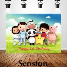 Sxy0102 Vinyl Newborn Baby Shower 1st Birthday Party Backdrop Cartoon Little Baby Bum Backgrounds For Photo Studio 220x150cm