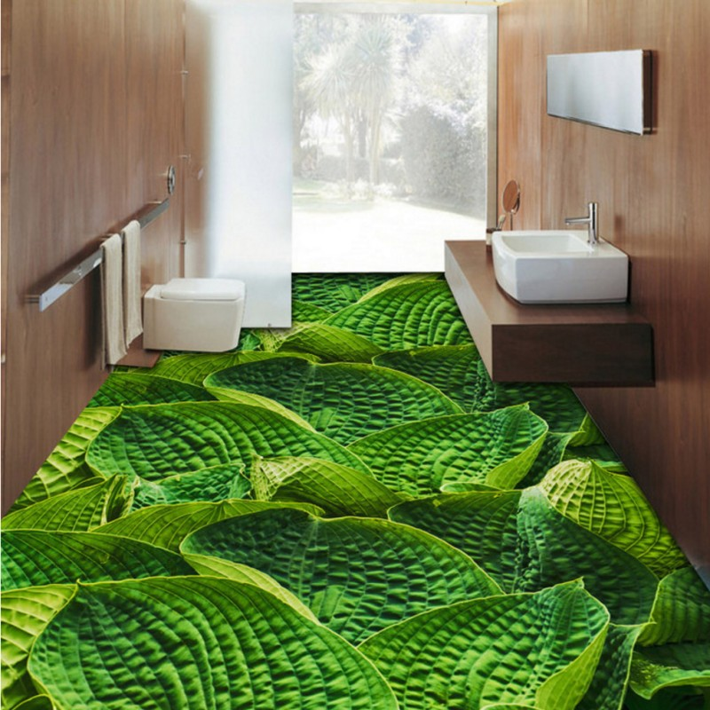 купить Free Shipping leaf bathroom kitchen bedroom floor painting 3D stereo custom flooring Self-adhesive wallpaper mural по цене 6953.13 рублей