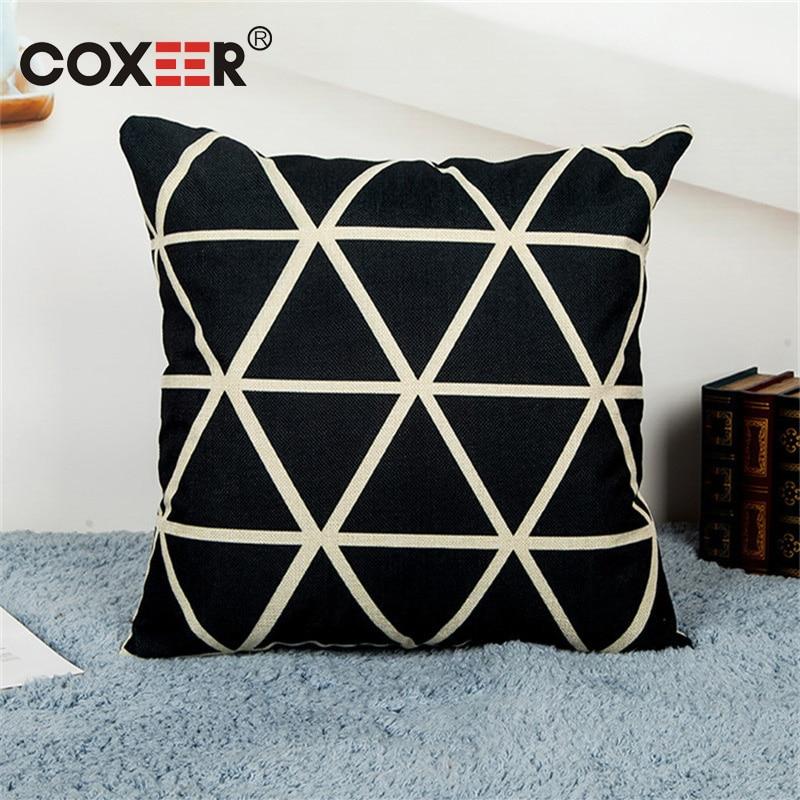 coxeer Creative Geometric Pillow Cover Linen Printed Decorative Square Pillowcse Sofa Cushion Cover 45x45cm Housse De Coussin