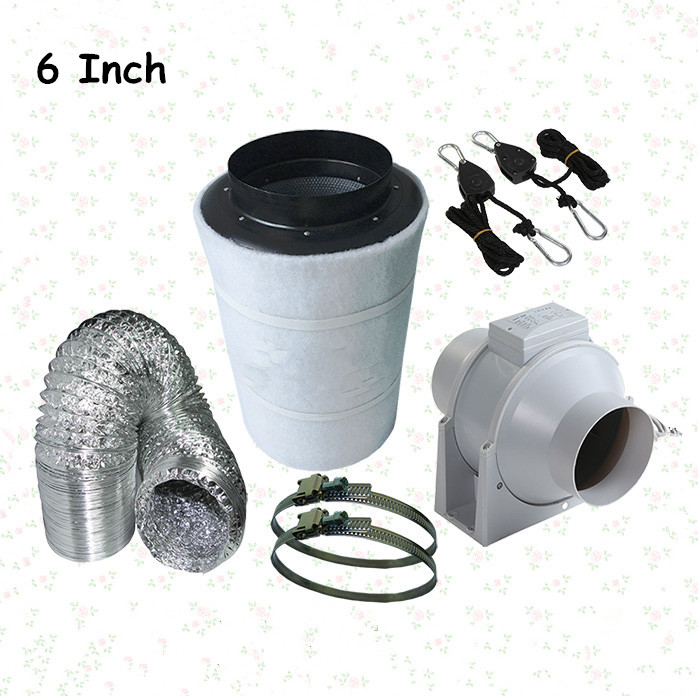 """6/"""" 150mm Carbon Filter InLine Fan Duct Kit Hydroponic Tent Room Grow Ventilation"""