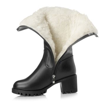 2019 New brand boots wool warm genuine leather shoes woman snow boots Plus size winter In-tube boots fashion Buckle women boots