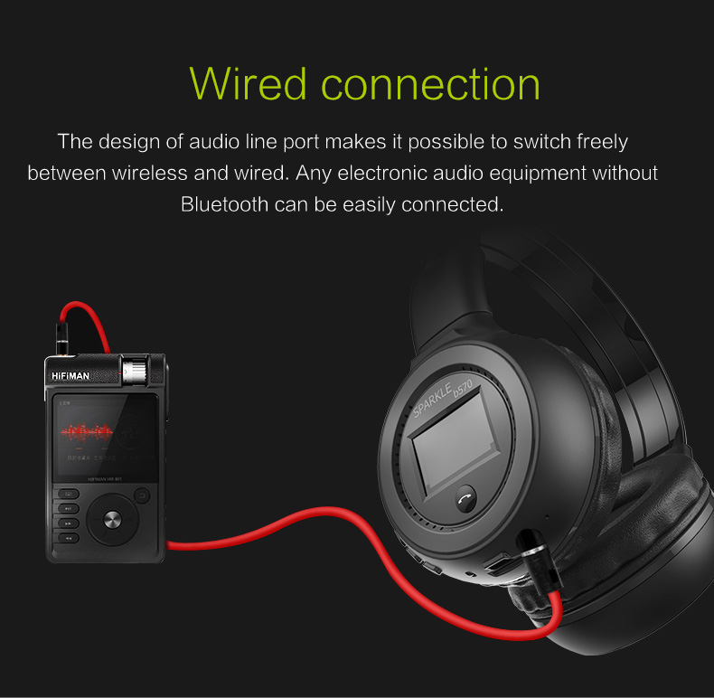 Zealot B570 Earphone Headphone with LCD Screen Bluetooth Headphone Foldable Hifi Stereo Wireless Headset FM Radio TF SD Slot 16