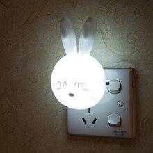 Luminária led de desenho animado para coelho, AC110 220V interruptor, lâmpada noturna de parede com tomada eua, presentes para crianças/bebês quarto lâmpada de cabeceira