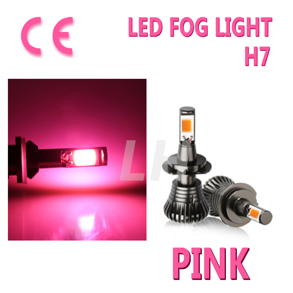New Car H7 LED Fog Light Bulbs Driving DRL Pink Error Free Strobe 80W 8000LM Canbus Flash