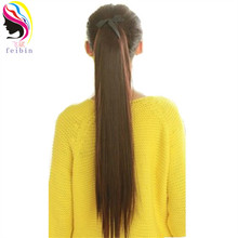 Feibin Tie on Ponytail Hair Extension Tail Hairpiece Long Straight Synthetic Womens 24inches B42