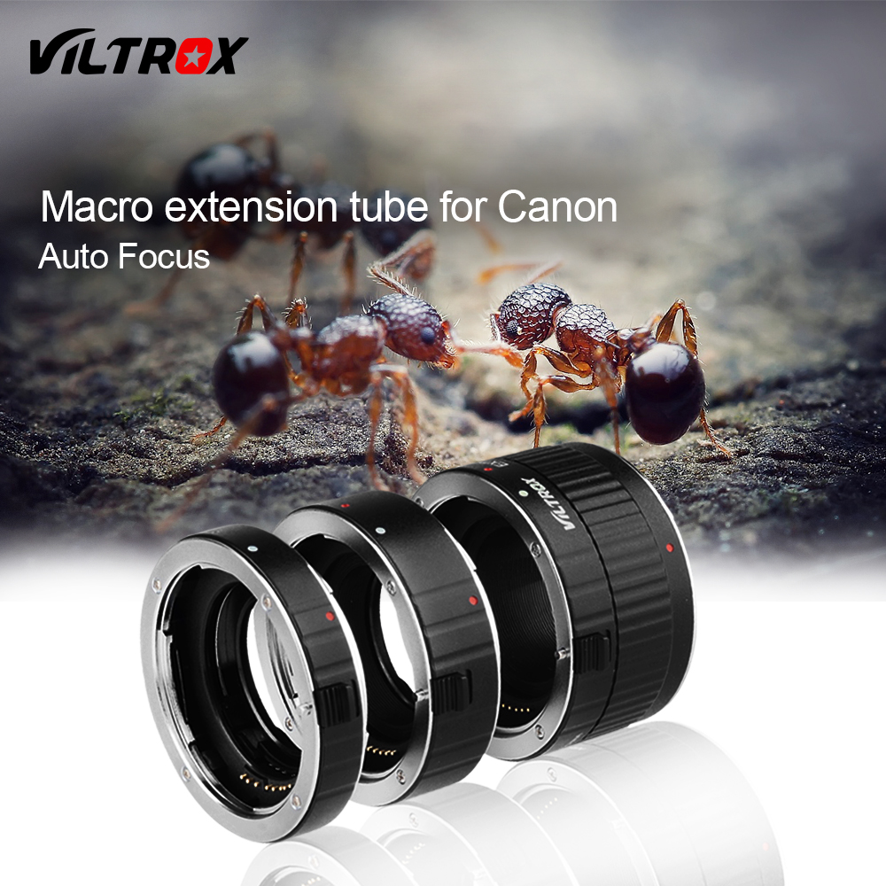 Viltrox Metal Mount Auto Focus AF Macro Extension Tube Lens Adapter for Canon EOS 750D 700D 650D 70D 60D 5D II 7D DSLR huanor hn 668c auto macro extension tube set for canon dslr black