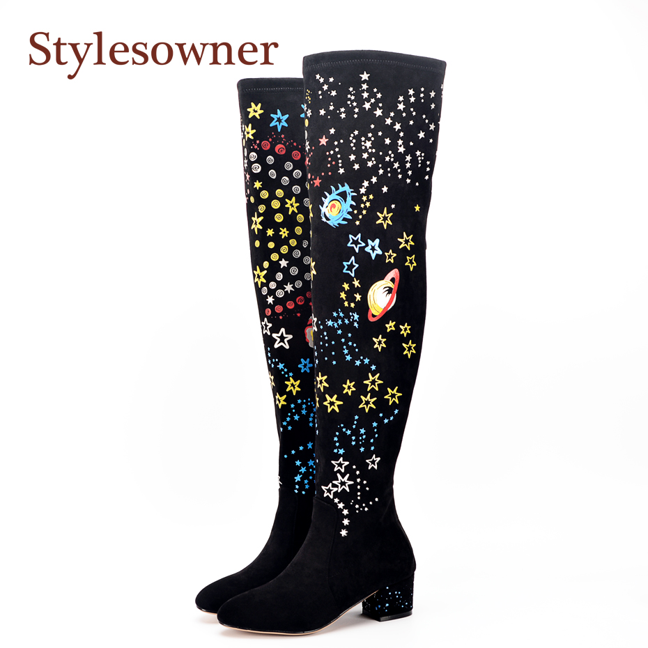 stylesowner Black long boots comfort lady moon star butterfly print chunky heel boots slim fit sexy over knee fashion booties moon over manifest