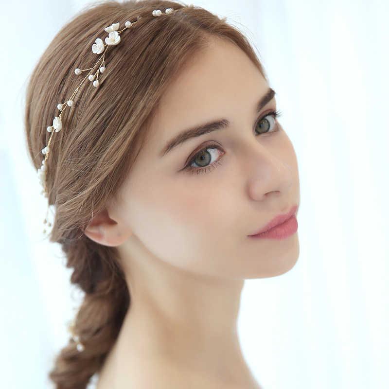 Gold Floral Wedding Headband Hair Vine Pearls Tiara Bridal Crown Hairband Wedding Hair Accessories Hair Ornament
