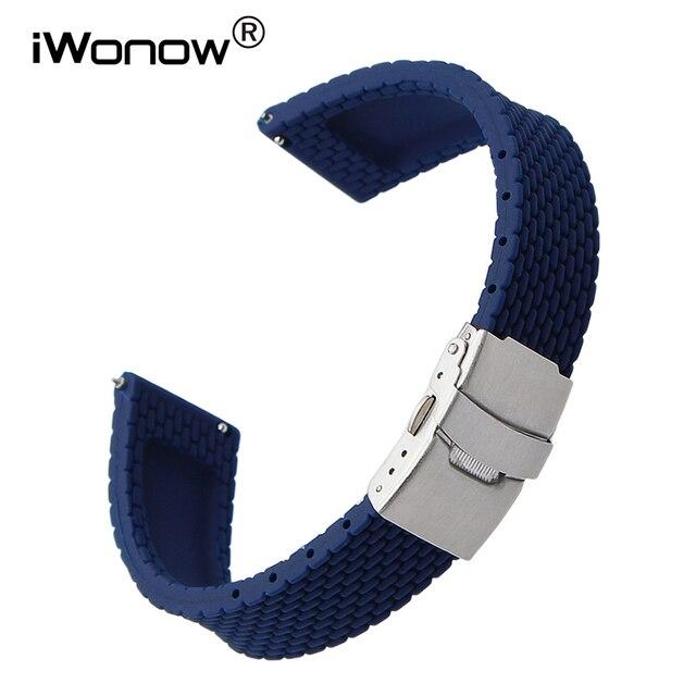 350156c7825 Borracha de Silicone Pulseira de Liberação rápida para Omega Relógio Tissot  Longines banda Alça de Pulso