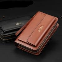 New Fanshion Wallet Men Business Organizer Purse Pu Leather Portfolio Large Capacity Multi Card Bit Designer