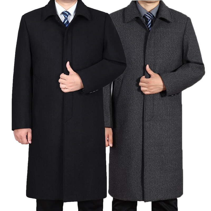 Men's Knee Length Top Coat Trench Wool Blend Overcoat Loose Fit Hot Casual S64(China)