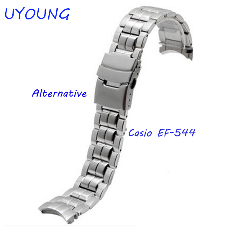 UYOUNG Watchband For Casio EF-544 Solid Stainless Steel Watch Bands Bracelet Watch Accessories Silver Strap