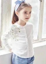 New 4 styles Girls Embroidery flower white shirt kids long sleeve stand collar shirt wholesale 2017