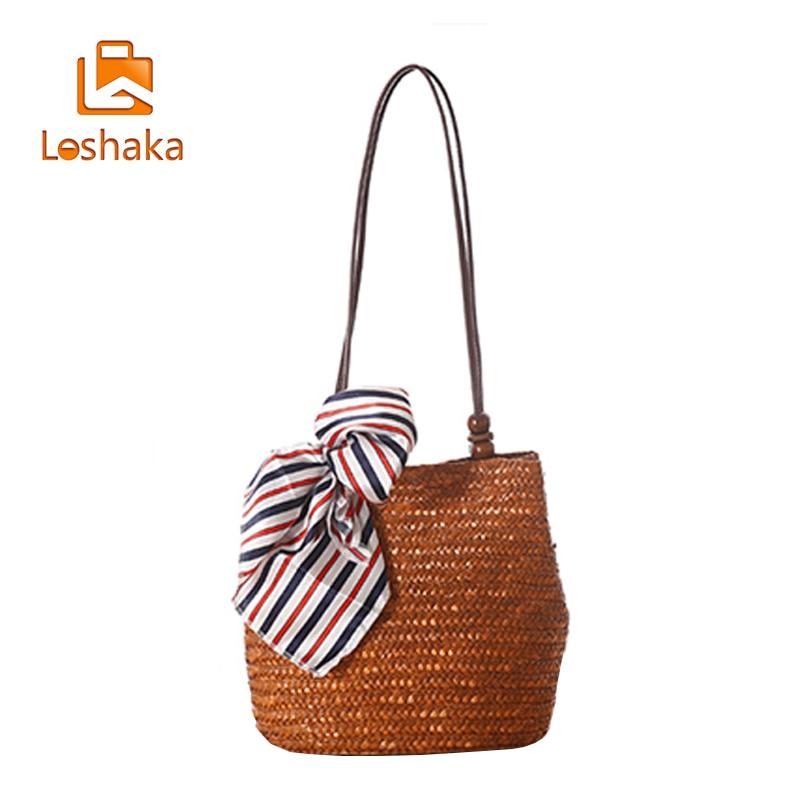 LOSHAKA Casual Bucket Bag med Scarf Straw Tote Axelväska Solid Women - Handväskor