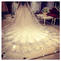 Bling Bling Bridal Accessory Dazzling 3 Meters Long Wedding Veil New Design White Ivory Sequined Tulle Appliques Edge Top Made