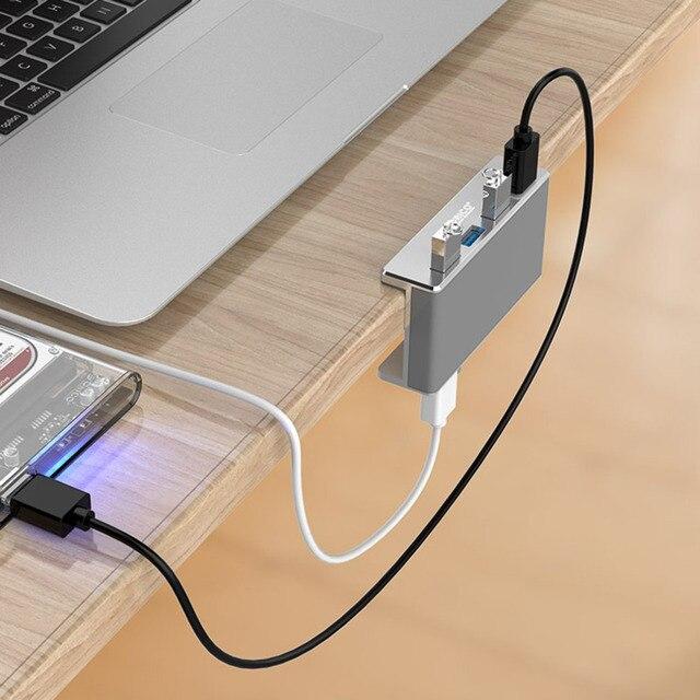 Usb-концентратор USB 3,0 концентратор для зарядки Профессиональный зажим дизайн Алюминиевый сплав 4 порта портативный размер туристическая ста...