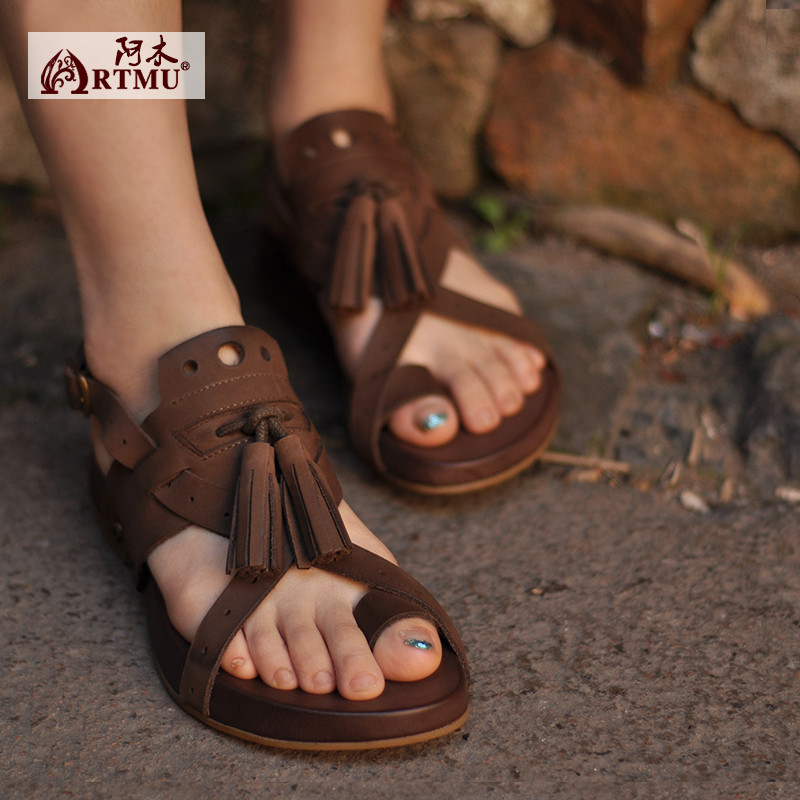 Artmu Fashion Women Sandals Flip Flops Shoes Handmade Genuine Leather Ankle Strap Slides Flats Woman Slippers