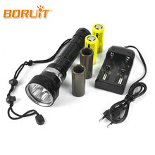 BORUIT Super Bright 6000LM 4x XML L2 LED Diving Flashlight Torch 100m Underwater Waterproof Lanterna For Diver battery Charger