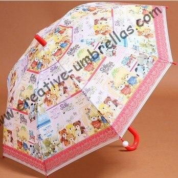 Dessin animé bébé enfant EVA parapluie-Petit ours, auto open.8mm manche en métal et nervures en fibre de verre, coffre ouvert, universel pour fille et garçon