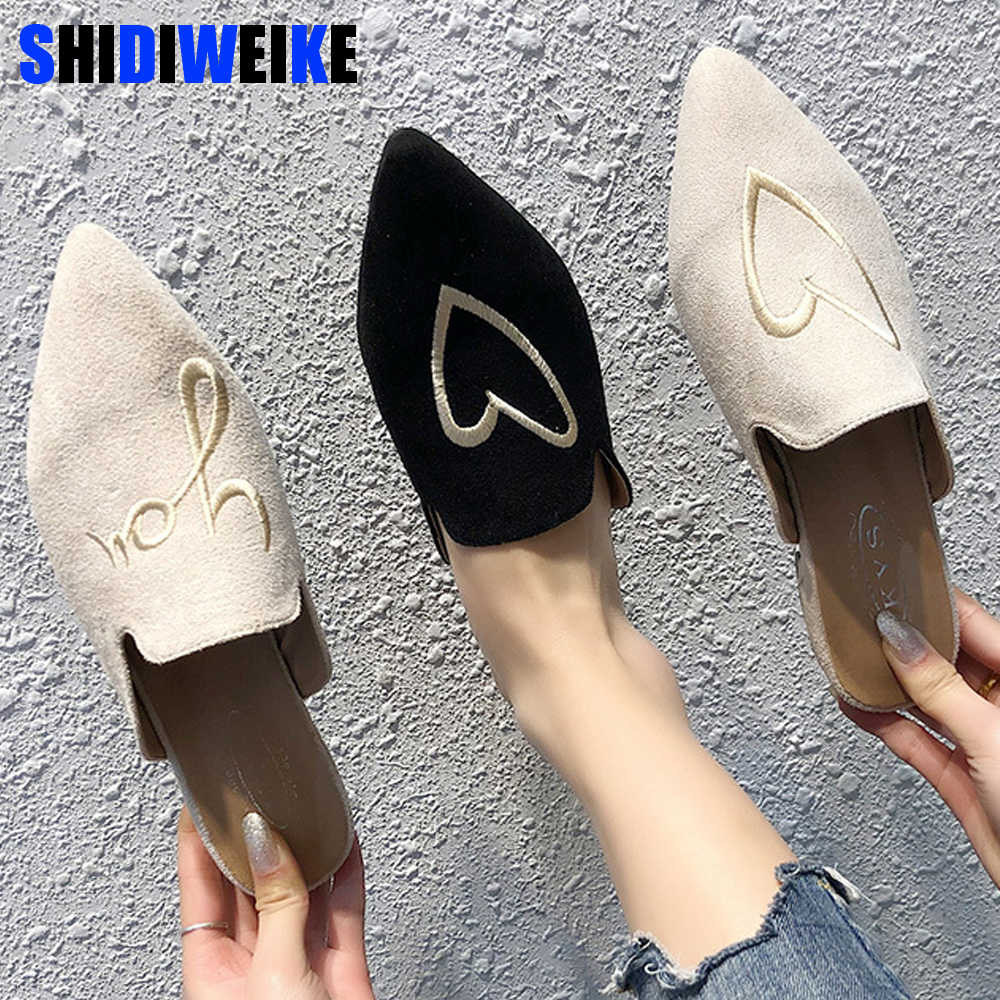2019 Spring Women Slippers Flock letter Female Mules Fashion Low Heels Shoe Pointed Toe Plus Size Elegant Woman Slipper G022