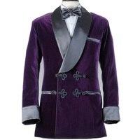 Мужской пиджак для курения, Бархатный смокинг для жениха, тонкий вечерние костюм жениха для вечеринки, двубортный зимний пиджак с отворотом