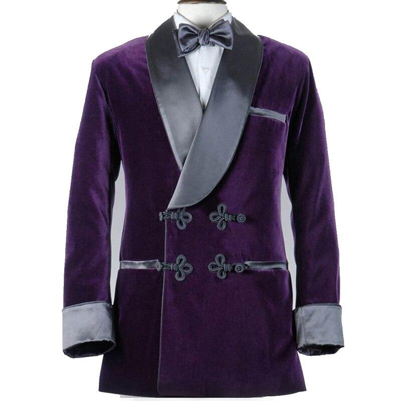 Men Smoking Suit Smoking Jacket Velvet Groom Tuxedos Slim Groom Suit Party Double Breasted Winter Shawl Lapel Blazer Custom Made