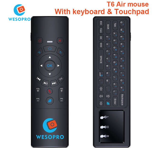 WESOPRO Latest T6 Air mouse with Wireless Keyboard & touchpad Remote Control for SmartTV Android TV Box mini PC HTPC Projector