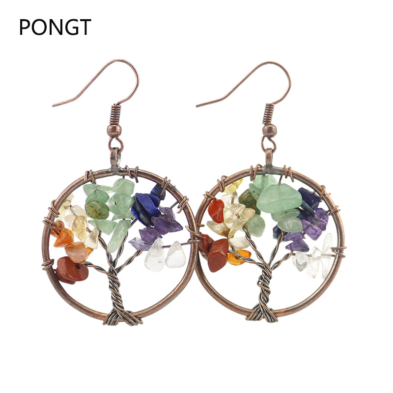 Chakra Tree of Life Natural stone Chip drop earrings for women ...