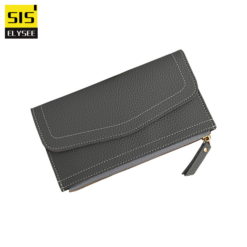 Fashion Thin Long Wallet Women Vintage Style Zipper Coin Purse Pu Leather Litchi Grain Clutch Bag 2 Folds Card iPhone Holder fashion women wallet pu leather long size purse skull print clutch bag female coin card holder dollar bag zipper id holderpocket