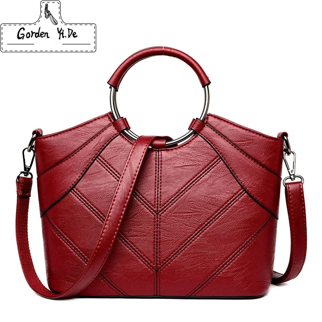 Thread Luxury Handbags Women Bags Designer PU Leather Fashion Shoulder Bag  Sac a Main Marque Bolsas Ladies Tote Women Handbags db111dbfa2464