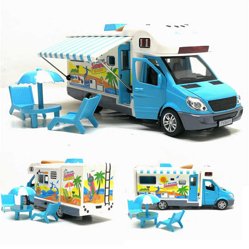 New 1:32 Motor Caravan Travel Tour Car Camper Motorhome Recreational Vehicle RV Trailer Play Home Baby Toys For Boys Gifts