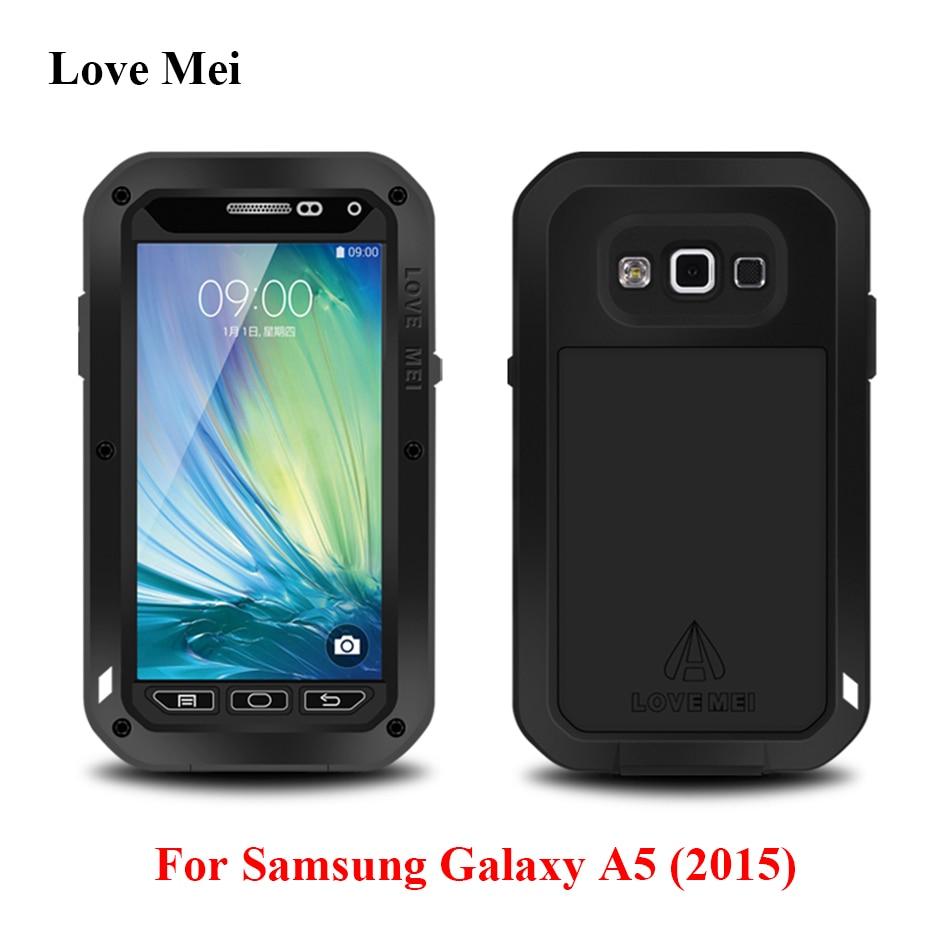 imágenes para Amor Mei Metal Armor Case Para Samsung Galaxy A5 2015 A500 A500F A5000 Cubierta Capa De Aluminio de Agua/Golpes/Shell Fundas A Prueba de lluvia